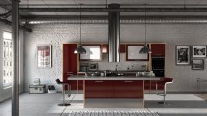 Duleek high gloss burgundy kitchen
