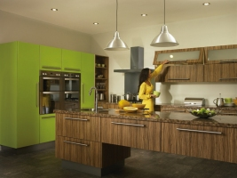 Duleek olivewood gloss lime green kitchen
