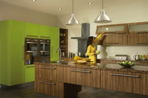 Duleek olivewood gloss lime green kitchen