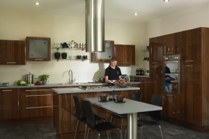 Mona high gloss walnut kitchen