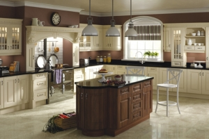 Prague cream dark walnut kitchen